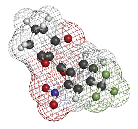 hereditary: Nitisonone hereditary tyrosinemia type 1 drug molecule. Atoms are represented as spheres with conventional color coding: hydrogen (white), carbon (grey), oxygen (red), nitrogen (blue), fluorine (light green). Stock Photo