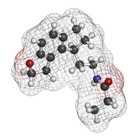 Ramelteon insomnia drug molecule. Atoms are represented as spheres with conventional color coding: hydrogen (white), carbon (grey), oxygen (red), nitrogen (blue). photo