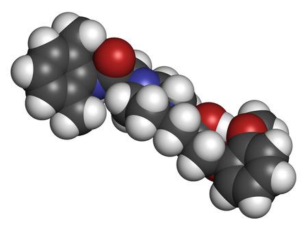 angina: Ranolazine mol�cula del f�rmaco antianginoso. Se utiliza en el tratamiento de la angina de pecho cr�nica. Los �tomos se representan como esferas con codificaci�n de colores convencionales: hidr�geno (blanco), carb�n (gris), ox�geno (rojo), nitr�geno (azul). Foto de archivo