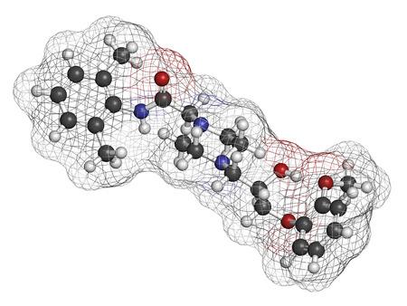angor: Ranolazine mol�cula del f�rmaco antianginoso. Se utiliza en el tratamiento de la angina de pecho cr�nica. Los �tomos se representan como esferas con codificaci�n de colores convencionales: hidr�geno (blanco), carb�n (gris), ox�geno (rojo), nitr�geno (azul). Foto de archivo