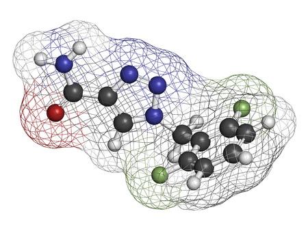 seizures: Rufinamide seizures drug molecule. Atoms are represented as spheres with conventional color coding: hydrogen (white), carbon (grey), oxygen (red), nitrogen (blue), fluorine (light green).