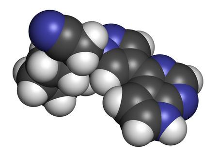 janus: Ruxolitinib myelofibrosis cancer drug molecule (janus kinase inhibitor). Atoms are represented as spheres with conventional color coding: hydrogen (white), carbon (grey), nitrogen (blue). Stock Photo