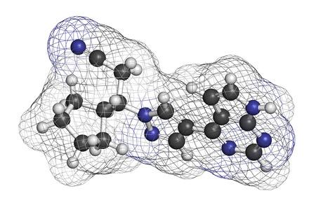 kinase: Ruxolitinib myelofibrosis cancer drug molecule (janus kinase inhibitor). Atoms are represented as spheres with conventional color coding: hydrogen (white), carbon (grey), nitrogen (blue). Stock Photo