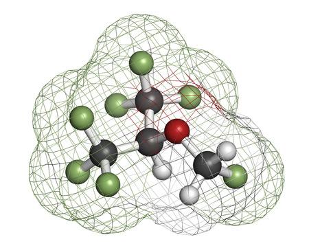 hidr�geno: Sevoflurano mol�cula de anest�sico inhalatorio. Los �tomos se representan como esferas con codificaci�n de colores convencionales: hidr�geno (blanco), carb�n (gris), fl�or (verde claro).