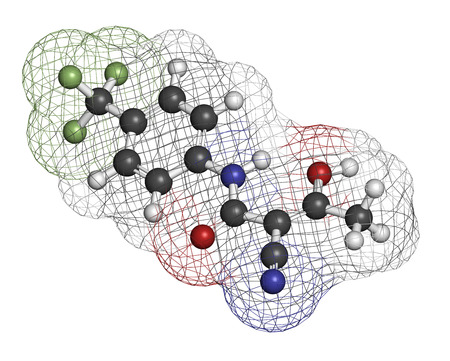 ms: Teriflunomide multiple sclerosis (MS) drug molecule. Atoms are represented as spheres with conventional color coding: hydrogen (white), carbon (grey), oxygen (red), nitrogen (blue), fluorine (light green). Stock Photo