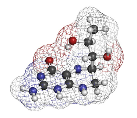 enzymes: Tetrahydrobiopterin (sapropterin) phenylketonuria drug molecule. Cofactor to a number of aromatic amino acid hydroxylase enzymes. Atoms are represented as spheres with conventional color coding: hydrogen (white), carbon (grey), oxygen (red), nitrogen (blu