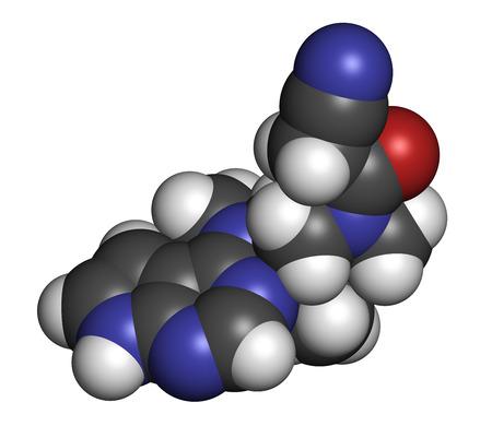 janus: Tofacitinib rheumatoid arthritis drug molecule. Inhibitor of Janus kinase 3 (JAK3). Atoms are represented as spheres with conventional color coding: hydrogen (white), carbon (grey), oxygen (red), nitrogen (blue).