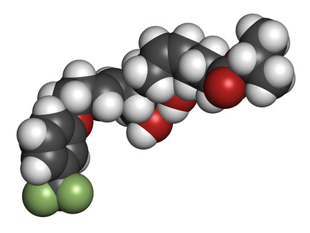 ocular diseases: Travoprost eye disease drug molecule. Used in treatment of glaucoma and ocular hypertension. Atoms are represented as spheres with conventional color coding: hydrogen (white), carbon (grey), oxygen (red), fluorine (light green).