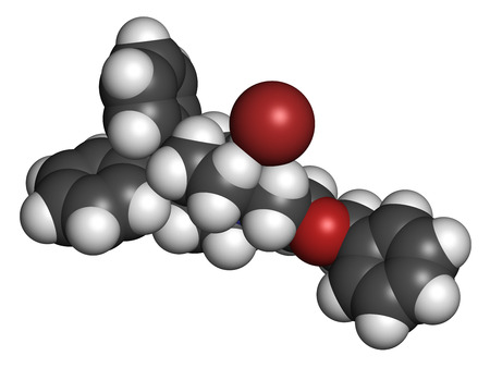anticholinergic: Umeclidinium bromide COPD drug molecule. Atoms are represented as spheres with conventional color coding: hydrogen (white), carbon (grey), oxygen (red), nitrogen (blue), bromine (brown). Stock Photo