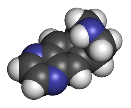 Varenicline smoking cessation drug molecule. Atoms are represented as spheres with conventional color coding: hydrogen (white), carbon (grey), nitrogen (blue).