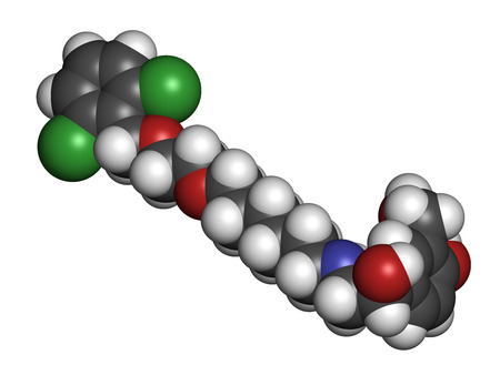 agonist: Vilanterol COPD drug molecule. Atoms are represented as spheres with conventional color coding: hydrogen (white), carbon (grey), oxygen (red), nitrogen (blue), chlorine (green).