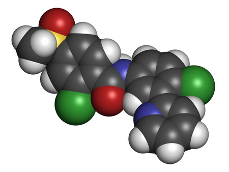pancreatic cancer: Vismodegib cancer drug molecule. Used in treatment of basal cell carcinoma. Atoms are represented as spheres with conventional color coding: hydrogen (white), carbon (grey), oxygen (red), nitrogen (blue), sulfur (yellow), chlorine (green).