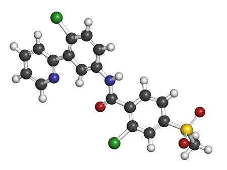 carcinoma: Vismodegib cancer drug molecule. Used in treatment of basal cell carcinoma. Atoms are represented as spheres with conventional color coding: hydrogen (white), carbon (grey), oxygen (red), nitrogen (blue), sulfur (yellow), chlorine (green).