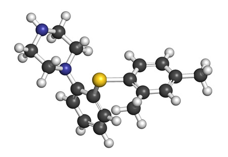 antidepressant: Vortioxetine antidepressant drug molecule. Atoms are represented as spheres with conventional color coding: hydrogen (white), carbon (grey), nitrogen (blue), sulfur (yellow). Stock Photo