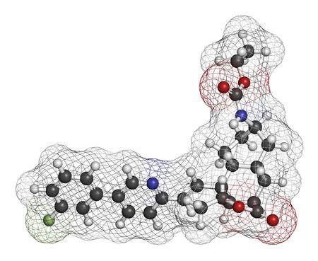 protease: Vorapaxar s�ndrome tor�cico mol�cula del f�rmaco dolor coronario agudo. Los �tomos se representan como esferas con codificaci�n de colores convencionales: hidr�geno (blanco), carb�n (gris), ox�geno (rojo), nitr�geno (azul), fl�or (verde claro).