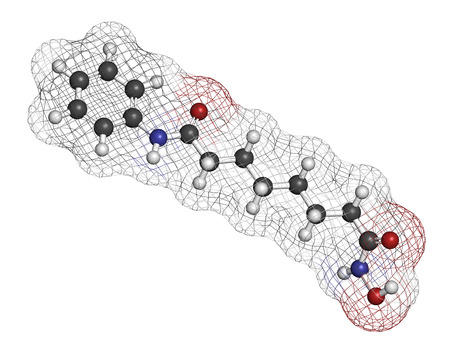 cutaneous: Vorinostat cutaneous T cell lymphoma drug molecule. Acts as histone deacetylase inhibitor. Atoms are represented as spheres with conventional color coding: hydrogen (white), carbon (grey), oxygen (red), nitrogen (blue). Stock Photo