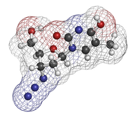 nucleoside: Zidovudine (azidothymidine, AZT) HIV drug molecule. Atoms are represented as spheres with conventional color coding: hydrogen (white), carbon (grey), oxygen (red), nitrogen (blue).