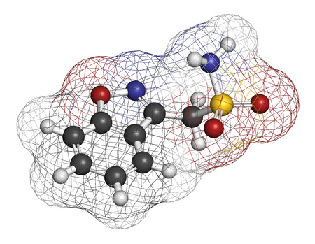 anticonvulsant: Zonisamide epilepsy drug molecule. Atoms are represented as spheres with conventional color coding: hydrogen (white), carbon (grey), oxygen (red), nitrogen (blue), sulfur (yellow). Stock Photo