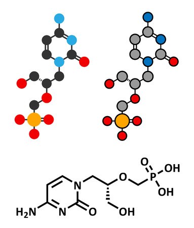 smallpox: Cidofovir cytomegalovirus (CMV, HCMV) drug molecule. Can probably also be used against smallpox infection. Conventional skeletal formula and stylized representations.