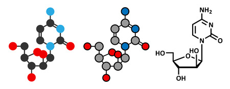 leucemia: La citarabina (citosina arabin�sido, Ara-C) mol�cula de f�rmaco de quimioterapia. Se utiliza en el tratamiento de la leucemia mieloide aguda (LMA), leucemia linfoc�tica aguda (LLA) y el linfoma. F�rmula esquel�tico convencional y representaciones estilizadas. Vectores