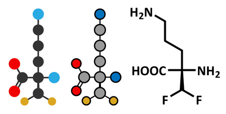 excessive: Eflornithine drug molecule. Used to treat facial hirsutism (excessive hair growth) and African trypanosomiasis (sleeping sickness). Conventional skeletal formula and stylized representations.