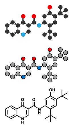 cf: Ivacaftor cistica molecola droga fibrosi. Convenzionale formula scheletrica e rappresentazioni stilizzate. Vettoriali