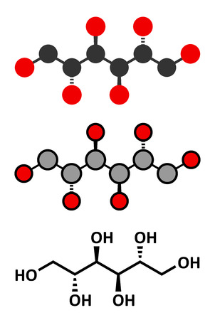 fibrosis: Mannitol (mannite, manna sugar) molecule. Used as sweetener, drug, etc. Conventional skeletal formula and stylized representations.