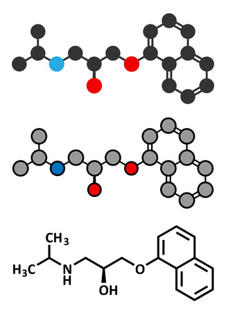 disorders: Propranolol high blood pressure drug molecule. Used to treat hypertension, anxiety and panic disorders. Conventional skeletal formula and stylized representations.