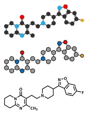 Risperidone antipsychotic drug molecule. Used in treatment of schizophrenia, bipolar disorder and related conditions. Conventional skeletal formula and stylized representations. Vector