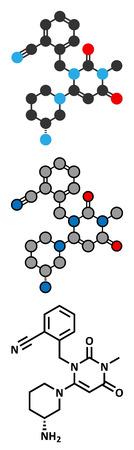 glucagon: Alogliptin diabetes drug molecule. Belongs to dipeptidyl peptidase 4 (DPP-4) or gliptin class of antidiabetic medicines. Conventional skeletal formula and stylized representations. Illustration