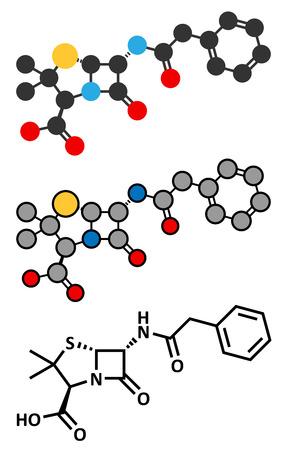 penicillin: Penicillin G (benzylpenicillin) antibiotic drug molecule. Used to treat bacterial infections; belongs to beta-lactam class. Conventional skeletal formula and stylized representations.