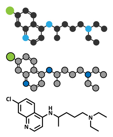 antirheumatic: Chloroquine malaria drug molecule. Used to treat and prevent malaria. Also used for antiviral and immunosuppressant properties. Conventional skeletal formula and stylized representations. Illustration