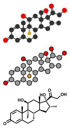 immunosuppressant: Dexamethasone glucocorticoid drug. Steroid drug with anti-inflammatory and immunosuppressant properties. Conventional skeletal formula and stylized representations. Illustration