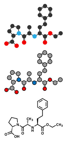 enzyme: Enalapril high blood pressure drug molecule. Angiotensin Converting Enzyme (ACE) inhibitor used in treatment of hypertension. Conventional skeletal formula and stylized representations.