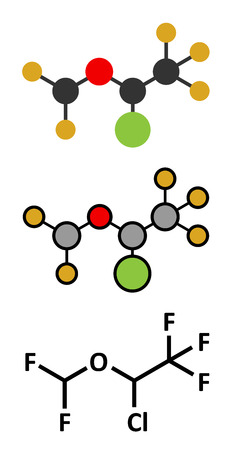 anaesthesia: Isoflurane anesthetic drug molecule. Used for inhalational anesthesia during surgery. Conventional skeletal formula and stylized representations.