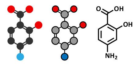 mycobacterium: Para-aminosalicylic acid drug molecule. Used in treatment of tuberculosis and inflammatory bowel disease (ulcerative colitis, Crohns disease). Conventional skeletal formula and stylized representations.