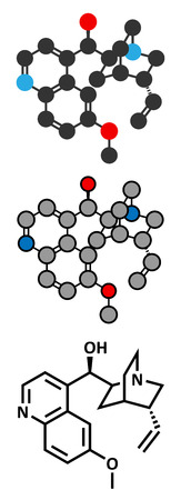 quinine: Quinine malaria drug molecule. Isolated from cinchona tree bark. Conventional skeletal formula and stylized representations.