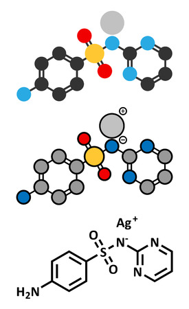 skin burns: Silver sulfadiazine topical antibacterial drug molecule. Used in treatment of wounds and burns. Conventional skeletal formula and stylized representations. Illustration