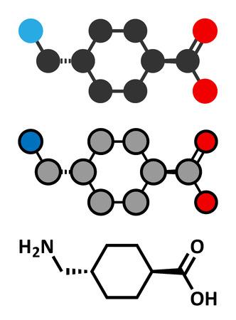 eg: Tranexamic acid antifibrinolytic drug molecule. Prevents excessive bleeding, e.g. during surgery. Conventional skeletal formula and stylized representations.