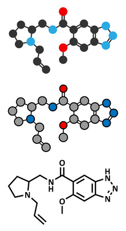 vomiting: Alizapride antiemetic drug molecule. Used in treatment of nausea and vomiting. Conventional skeletal formula and stylized representations.