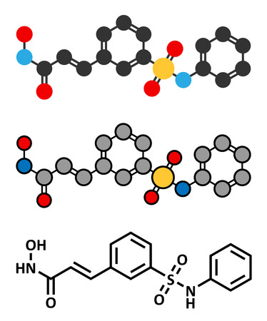 inhibitor: Belinostat cancer drug molecule. Histone deacetylase (HDAC) inhibitor. Conventional skeletal formula and stylized representations.