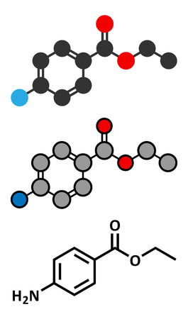 Benzocaine local anesthetic drug molecule. Conventional skeletal formula and stylized representations.