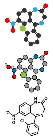 benzodiazepine: Clonazepam benzodiazepine drug molecule. Used in treatment of seizures, insomnia, anxiety, etc. Conventional skeletal formula and stylized representations. Illustration