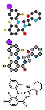 melanoma: Cobimetinib melanoma drug molecule. Conventional skeletal formula and stylized representations.