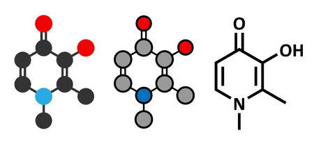 Deferiprone thalassaemia major drug molecule. Iron chelating agent. Conventional skeletal formula and stylized representations.