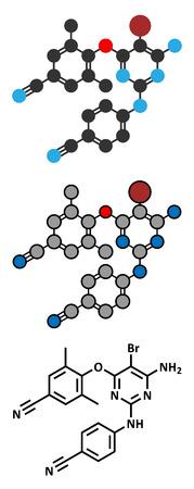 immunodeficiency: Etravirine HIV drug molecule (Non-nucleoside reverse transcriptase inhibitor). Conventional skeletal formula and stylized representations. Illustration