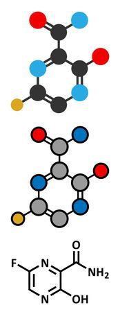 fluorine: Faviparivir antiviral drug molecule. Used in treatment of Ebola virus. Conventional skeletal formula and stylized representations. Illustration