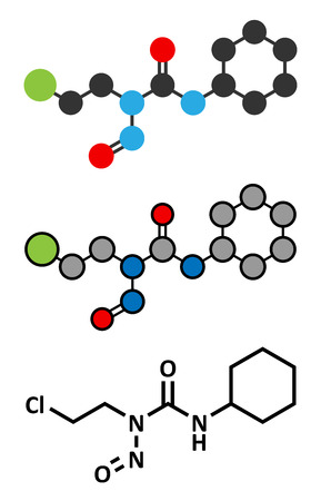 chemotherapeutic: Lomustine brain cancer chemotherapy drug molecule. Conventional skeletal formula and stylized representations.