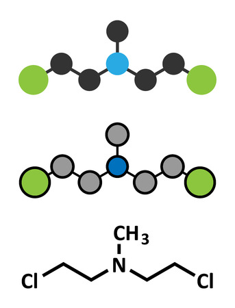 chemical weapon: Chlormethine (mechlorethamine, mustine, HN2) cancer chemotherapy drug molecule. Nitrogen mustard compound also used a blister agent (chemical weapon). Conventional skeletal formula and stylized representations.