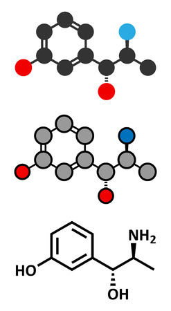 eg: Metaraminol (metaradrine) hypotension drug molecule. Used in treatment of low blood pressure, e.g. due to anesthesia. Conventional skeletal formula and stylized representations.